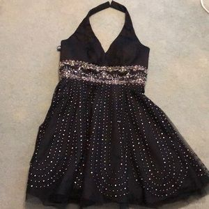 Black Beaded Halter with full skirt with netting